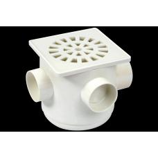 CAIXA Sifonada PVC 100x100x40mm Grelha Quadrada Branca 2258