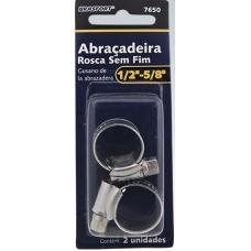 ABRAÇADEIRA Metal Anel Rosca Sem Fim 1/2X5/8 C/ 2 unidades