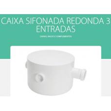 CAIXA PVC Esgoto 71 250x172x50mm Redonda 3 Entradas