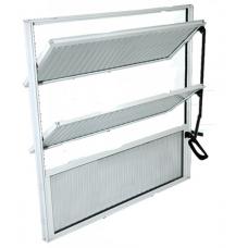 BASCULANTE Alumínio  60 x  60cm Branco Vidro Canelado